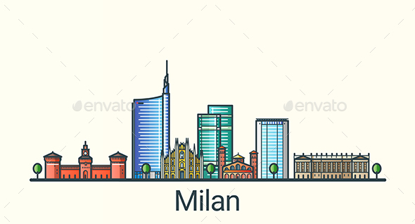 Line Flat Milan Banner - Buildings Objects