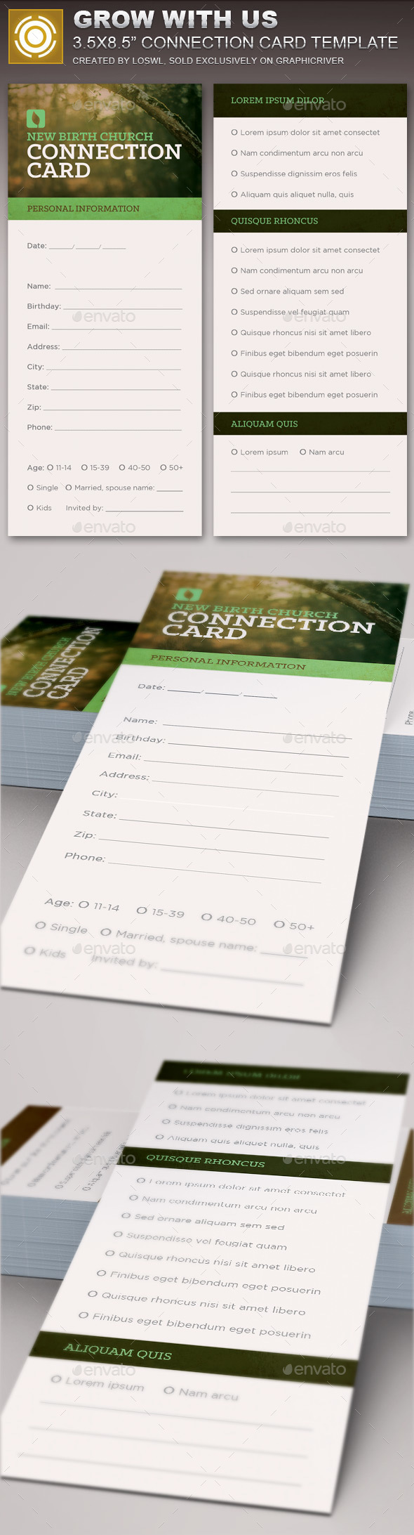Grow With Us Connection Card Template - Cards & Invites Print Templates