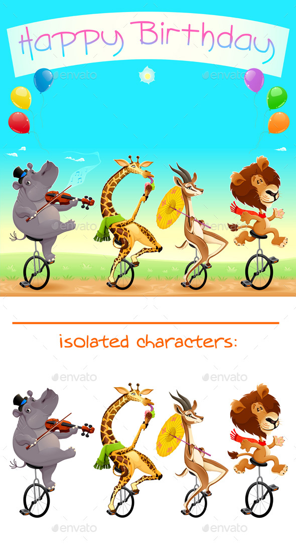 Happy Birthday Card With Wild Animals On Unicycles By Ddraw