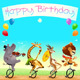 Happy Birthday Card with Wild Animals on Unicycles - GraphicRiver Item for Sale