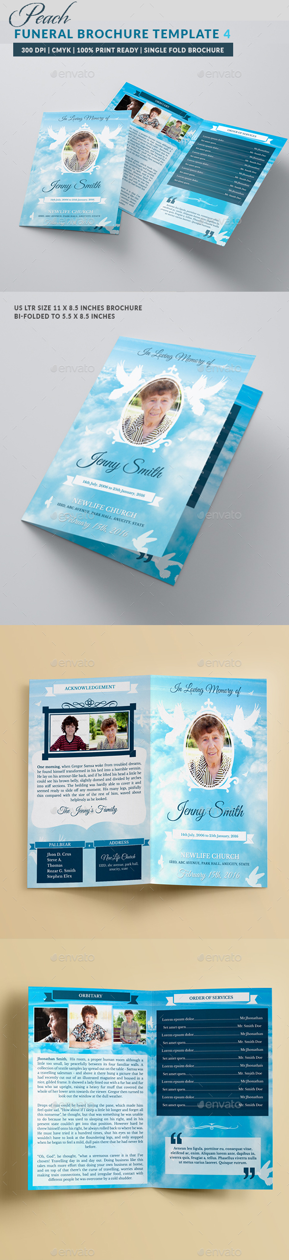 Peace Funeral Program Bifold Borchure Template  - Brochures Print Templates
