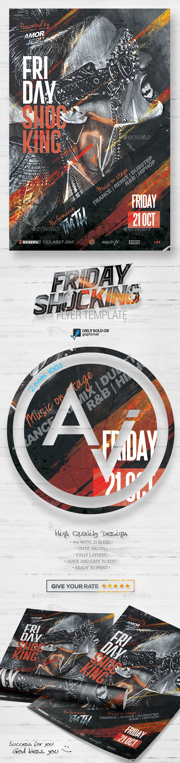 Friday Shocking Flyer Template V2 - Clubs & Parties Events