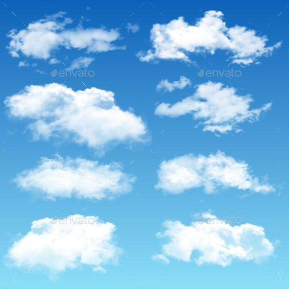 Set of Realistic Vector Clouds - Organic Objects Objects
