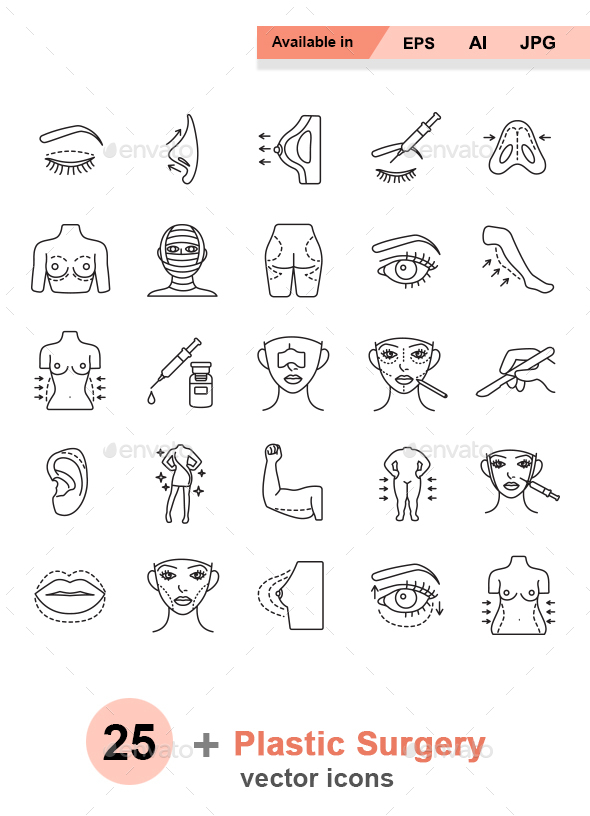 Plastic surgery outlines vector icons - Miscellaneous Characters