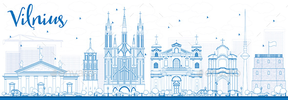Outline Vilnius Skyline with Blue Landmarks - Buildings Objects