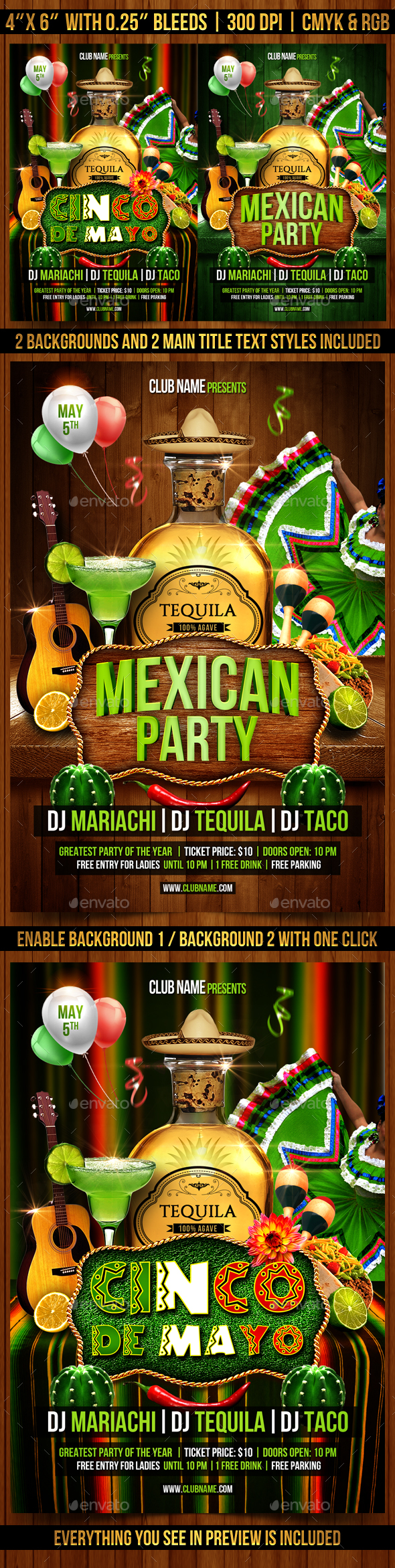 Mexican Party and Cinco de Mayo Flyer - Events Flyers