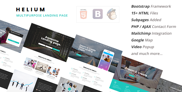 Helium –  10 in 1 Landing Pages Package