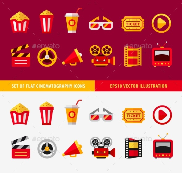 Set of Flat Cinema Icons for Online - Media Technology