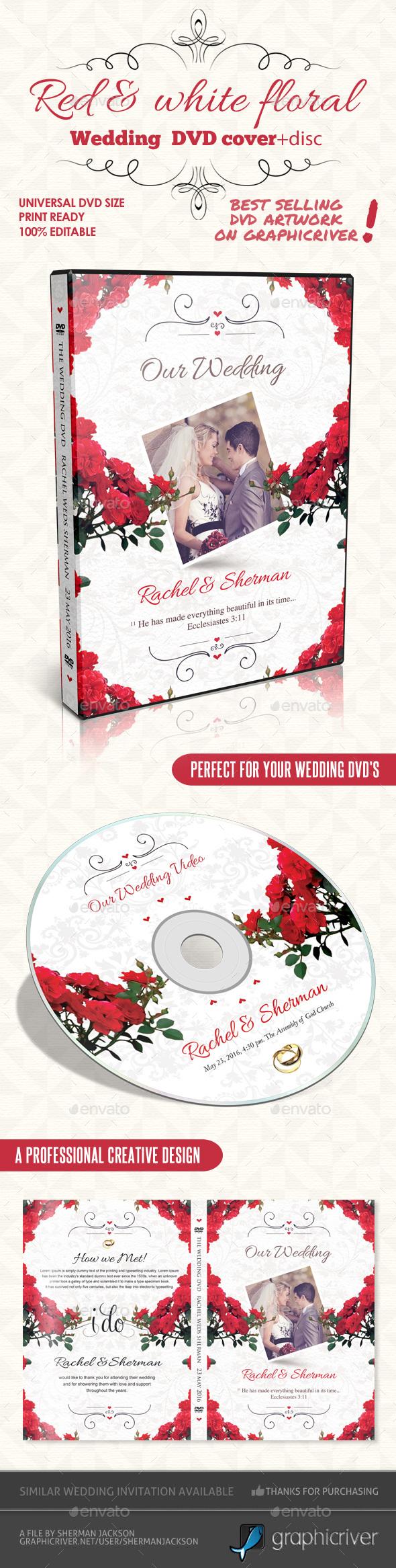 Red & White Floral Wedding DVD - CD & DVD Artwork Print Templates