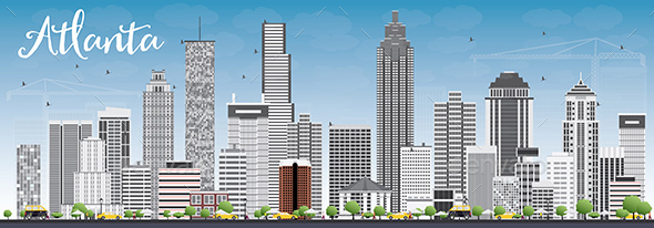 Atlanta Skyline with Gray Buildings and Blue Sky  - Buildings Objects