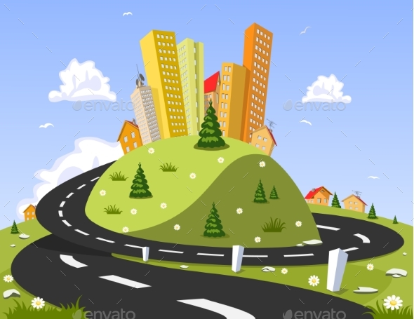Abstract City on the Hill - Landscapes Nature