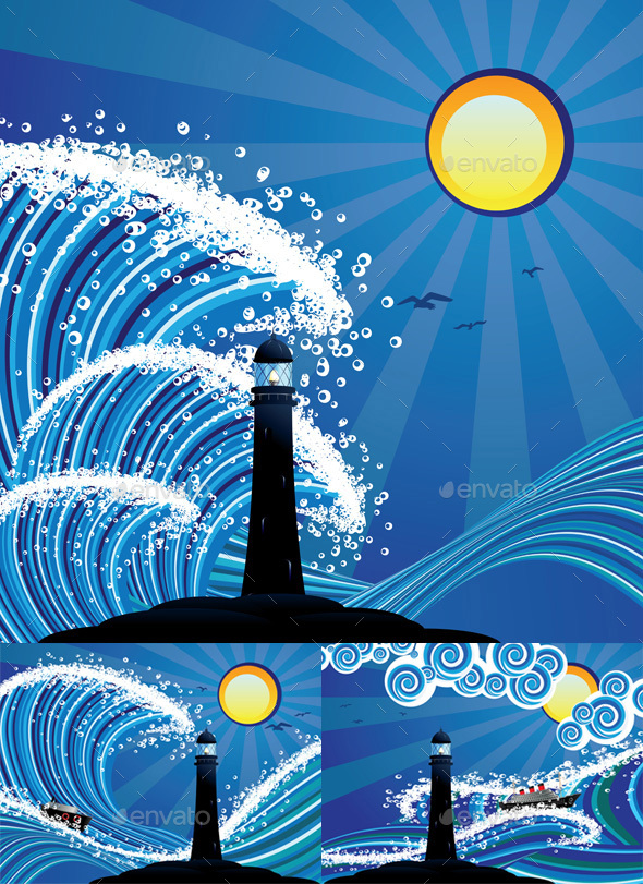 Lighthouse and Boat in the Sea - Buildings Objects