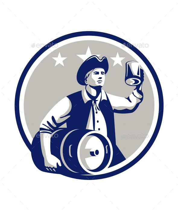 American Patriot Carry Beer Keg Circle Retro - People Characters