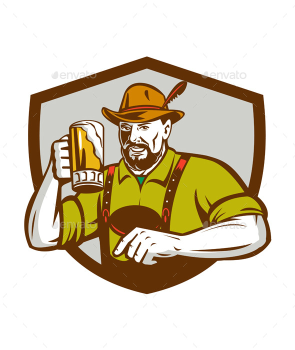 Oktoberfest Bavarian Beer Drinker Shield Retro - People Characters