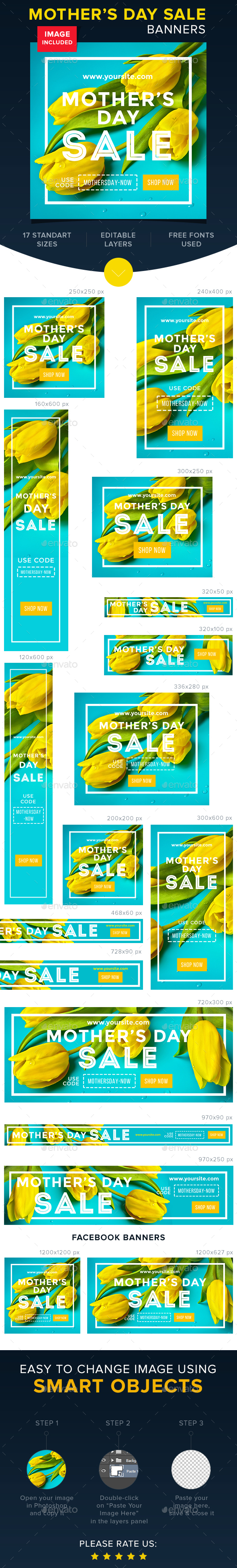 Mother's Day Sale Banners  - Banners & Ads Web Elements