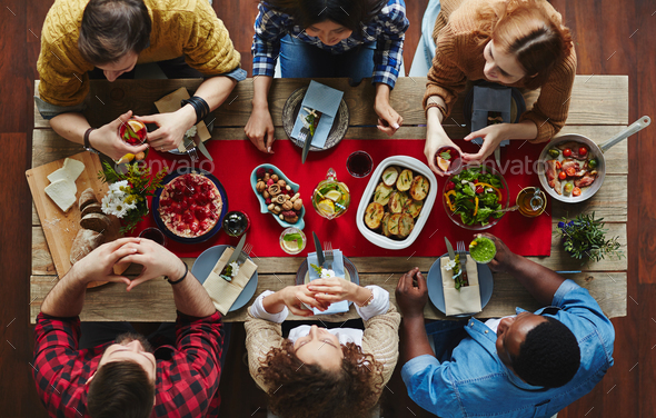 Dining friends - Stock Photo - Images