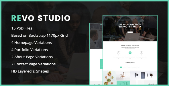 Revo Studio – One Page PSD Template