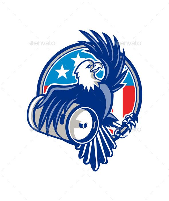American Bald Eagle Beer Keg Flag Circle Retro - Animals Characters