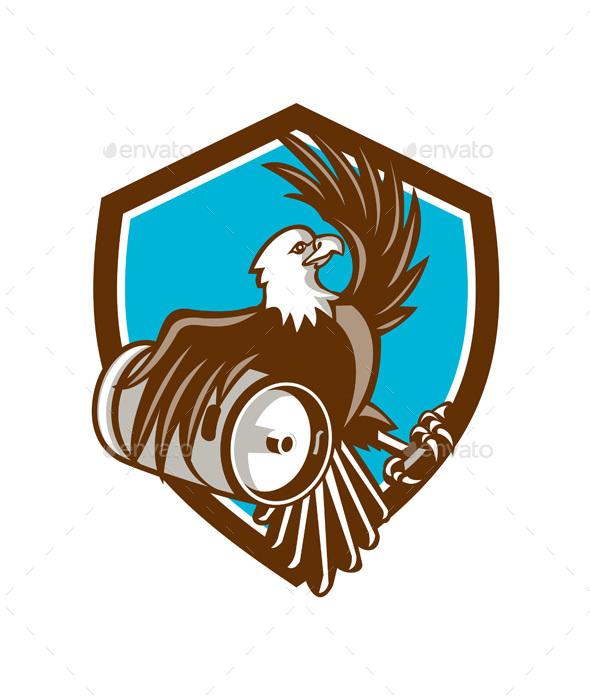 American Bald Eagle Beer Keg Crest Retro - Animals Characters
