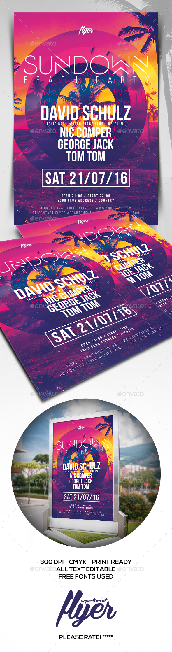 Sundown Beach Party Flyer - Clubs & Parties Events
