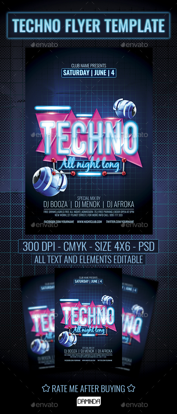 Tecno Party Flyer Template - Clubs & Parties Events