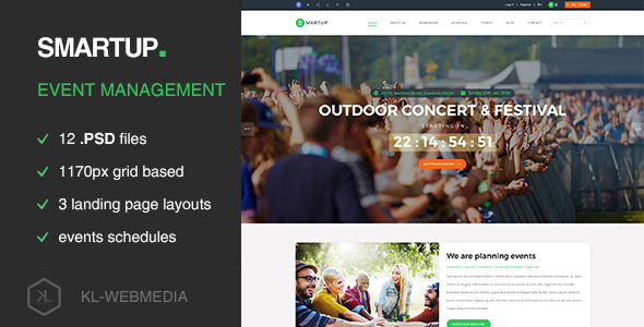 Smartup - Event Management PSD template - Events Entertainment