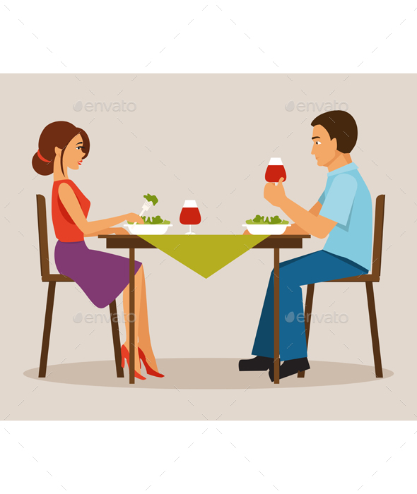 Couple Having Dinner - People Characters