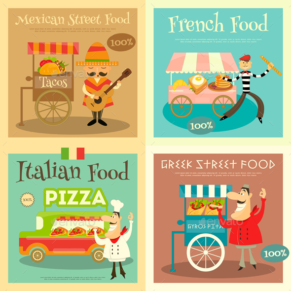 Street Food Festival Posters Set - Food Objects
