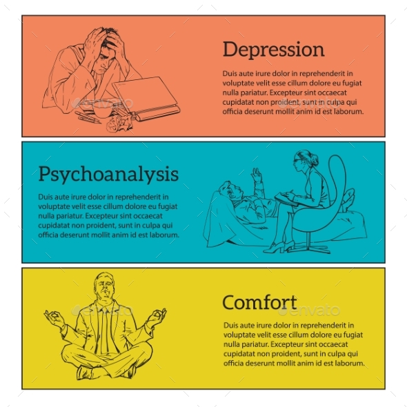 Concept Psychotherapy of Three Illustrations - People Characters