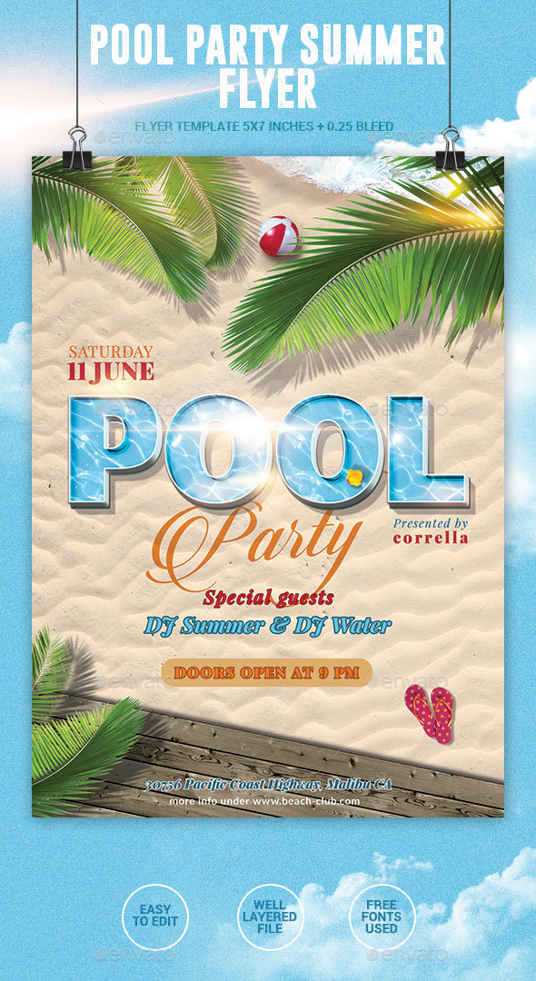 Pool Party Summer Flyer - Events Flyers