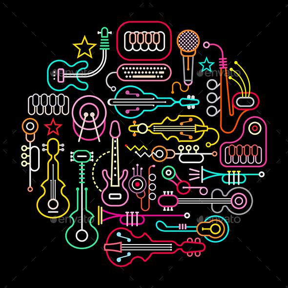 Musical Instruments Round Illustration - Decorative Symbols Decorative