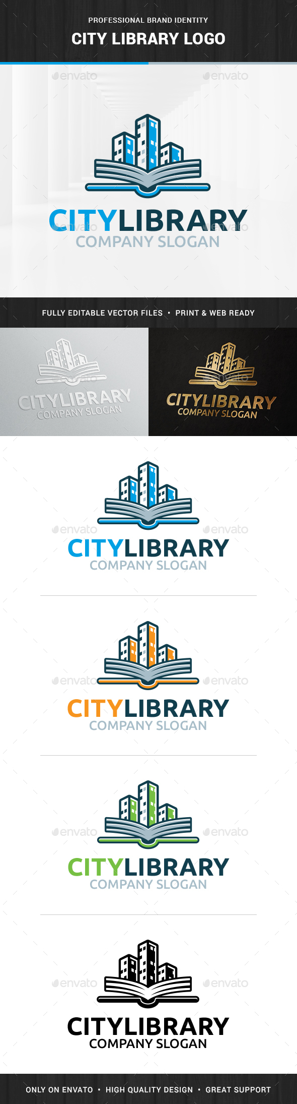 City Library Logo Template - Buildings Logo Templates