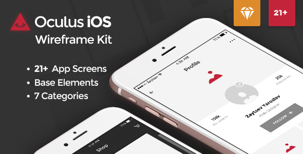 Oculus iOS Wireframe UI Kit - Sketch Templates