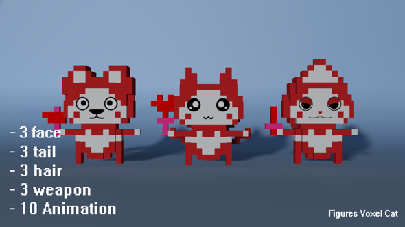 Figures Voxel Cat - 3DOcean Item for Sale