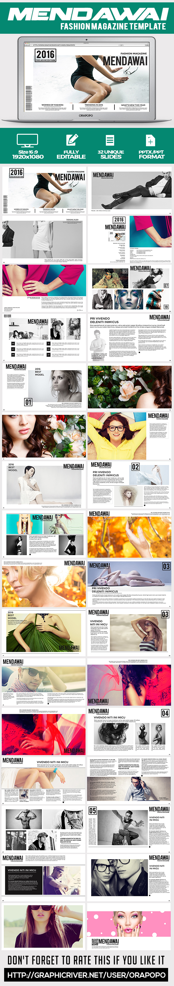 Mendawai ~ Fashion Magazine Template  - Creative PowerPoint Templates