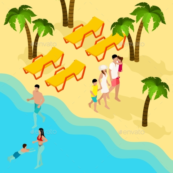 Family Tropical Beach Vacation Isometric Banner  - Travel Conceptual