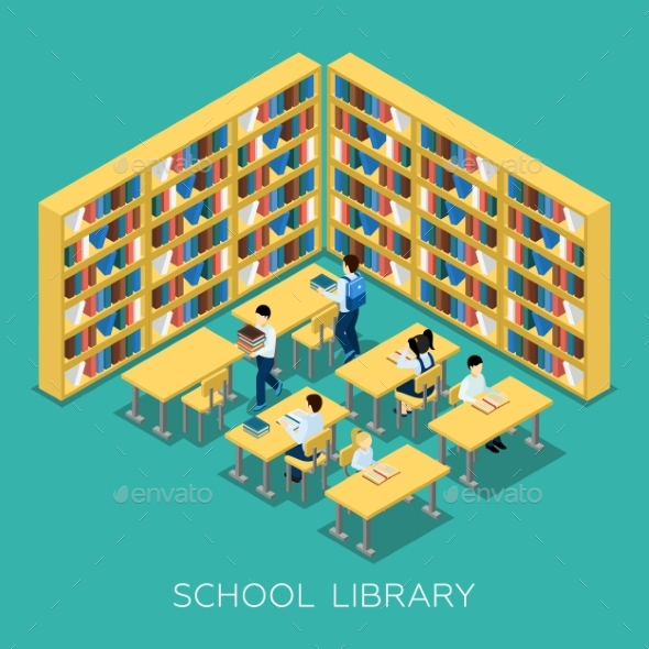 Education Middle School Library Isometric Banner - Miscellaneous Conceptual
