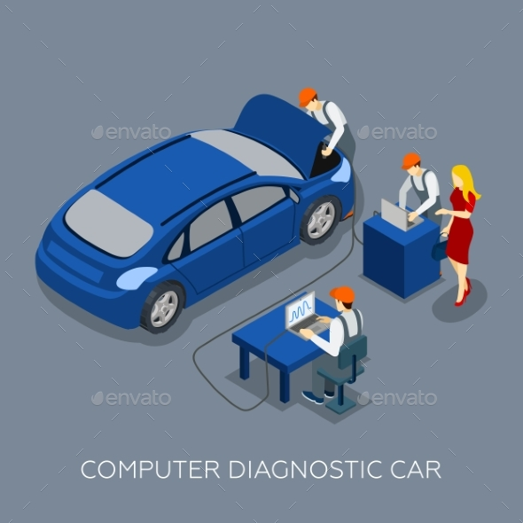 Auto Service Computer Diagnostic Isometric Banner  - Services Commercial / Shopping