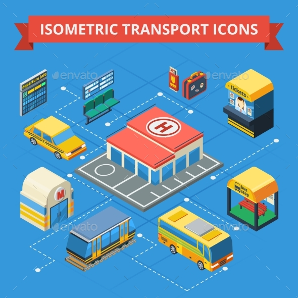 Passenger Transportation Isometric Flowchart  - Decorative Symbols Decorative