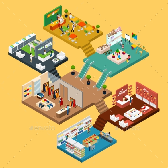 Shopping Mall Isometric Concept - Buildings Objects