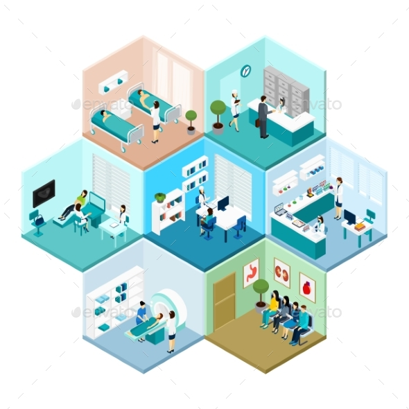 Hospital Hexagonal Tessellated Pattern Isometric - Health/Medicine Conceptual