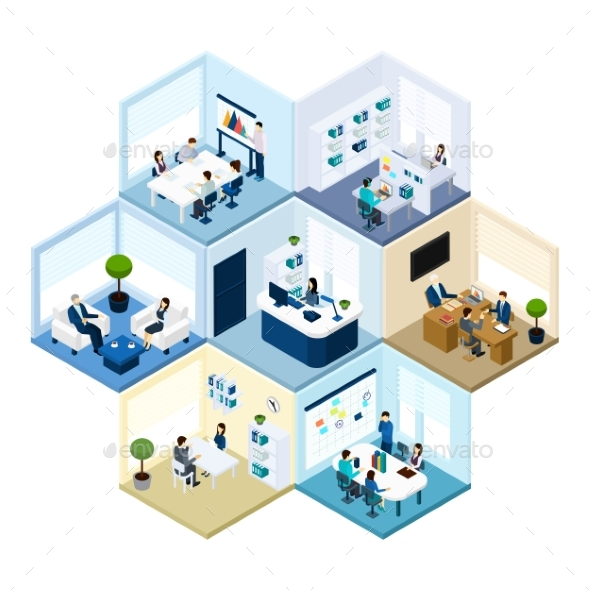 Office Hexagonal Tessellated Pattern Isometric - Concepts Business