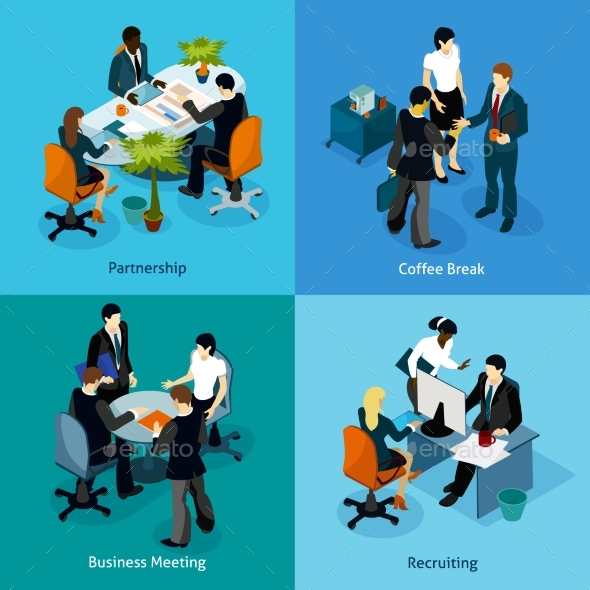 Business People Isometric Icon Set - People Characters
