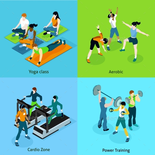 Fitness Aerobic Isometric Icons Set - People Characters