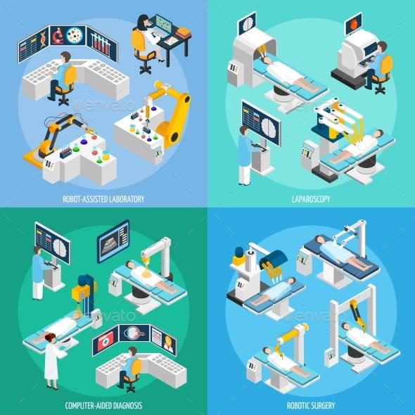 Robotic Surgery Isometric 2X2 Design Concept - Health/Medicine Conceptual