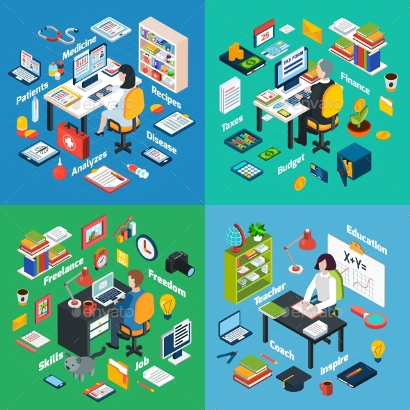 Professional Workplace Isometric 4 Icons Square  - Miscellaneous Conceptual