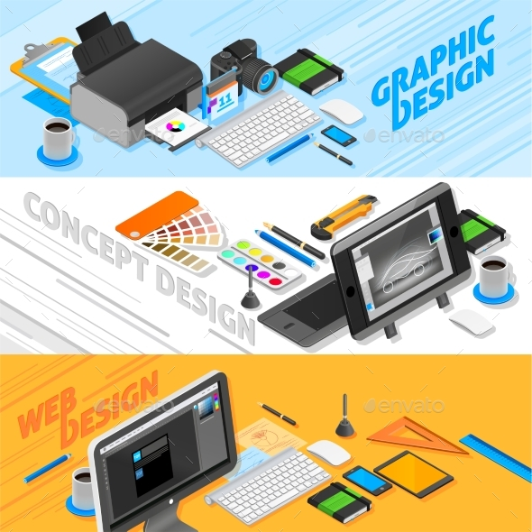 Graphic Design Isometric Banners Set  - Media Technology