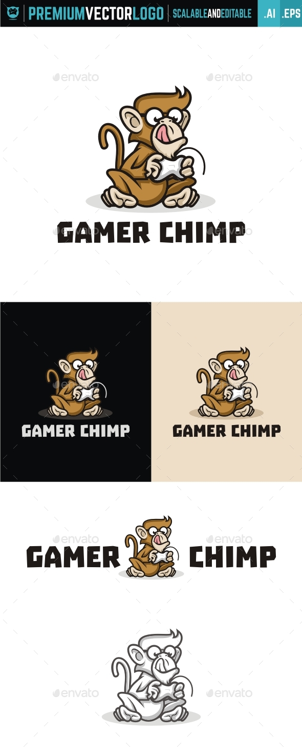 Gamer Chimp - Animals Logo Templates