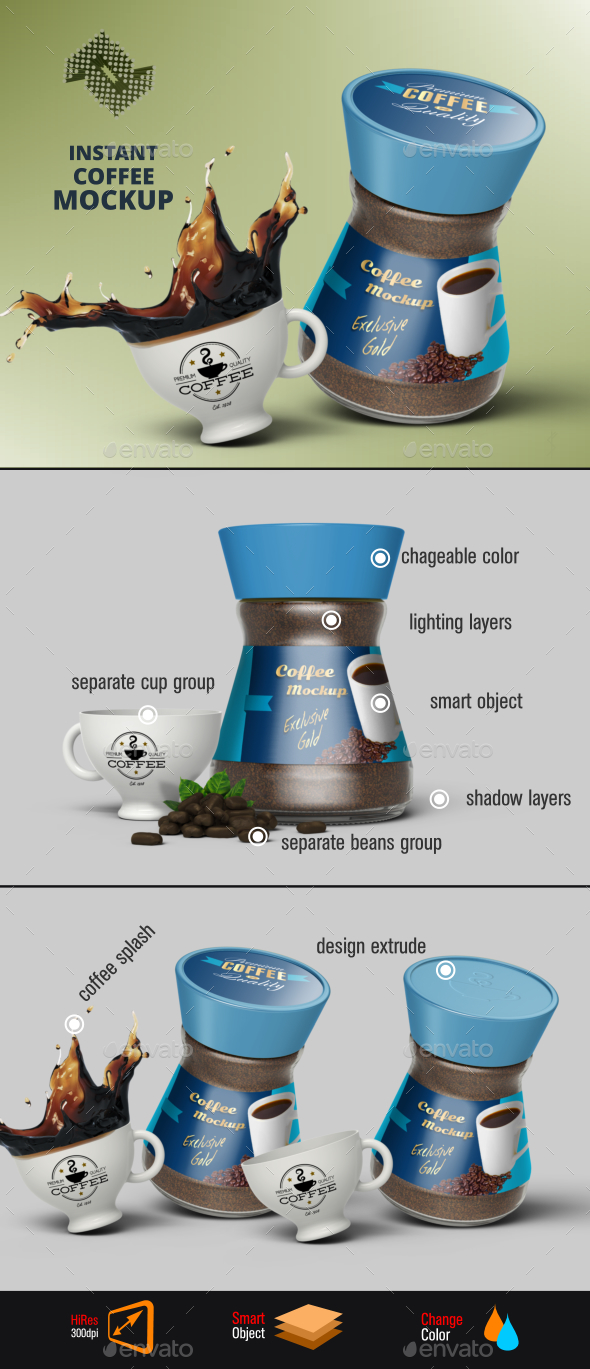 Instant Coffee Jar Mockup Vol.2 - Food and Drink Packaging