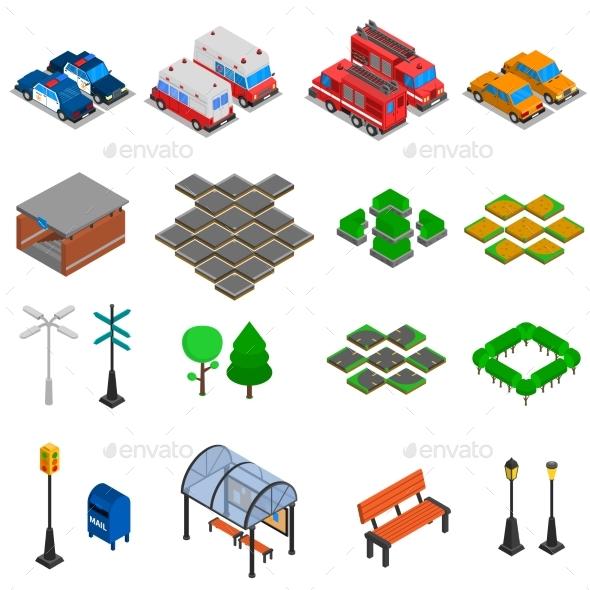 City Infrastructure Elements Set - Decorative Symbols Decorative
